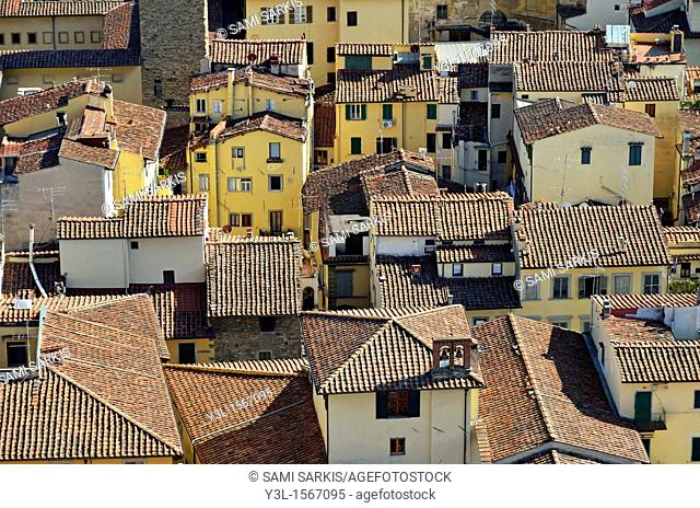 Red tiled roofs, nearby Duomo Santa Maria Del Fiore, Florence, Tuscany, Italy