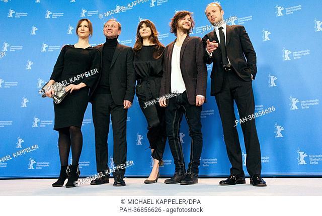 Actress Maja Ostaszewska (l-r), actor Andrzej Chyra, Director Malgoksa Szumowska of Poland, actor Mateusz Kosciukiewicz (r) and actor Lukasz Simlat pose at a...