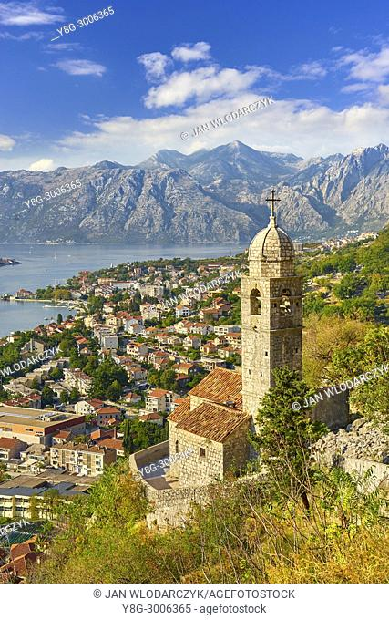 Aerial view of Kotor balkan village, Montenegro