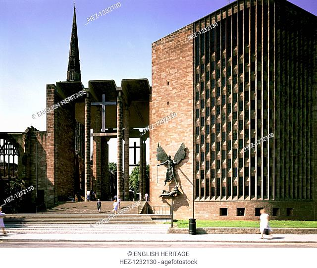 Coventry Cathedral, West Midlands, with the sculpture of St Michael, 1989. Grade 1 listed cathedral, designed by Basil Spence, 1951-62