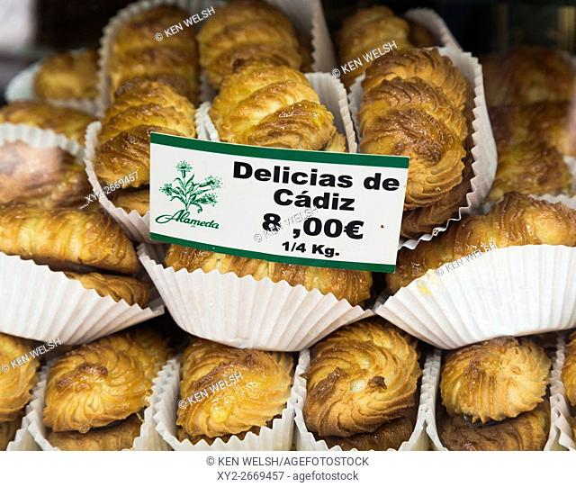 Cadiz, Cadiz Province, Andalusia, southern Spain. Delicias de Cadiz. Typical cakes from the city