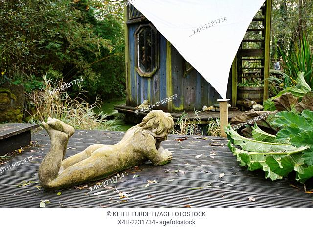 Exterior view of the Angel House folly by Terry Barter at Sculptureheaven sculpture garden, Rhydlewis, Llandysul, Wales, UK