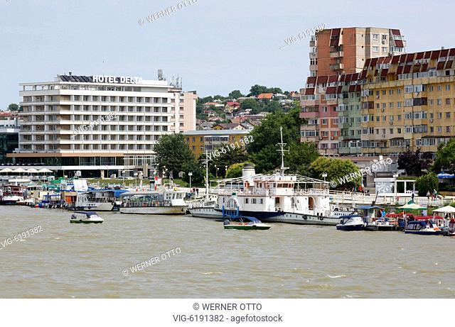 Romania, Tulcea at the Danube, Saint George branch, Tulcea County, Dobrudja, Gate to the Danube Delta, city view, harbour, Delta Hotel
