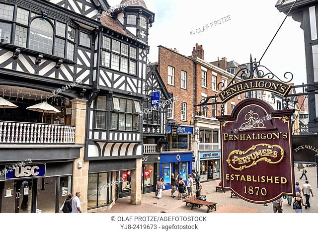 Old shop sign at the historical town centre of Chester, Cheshire, North West England