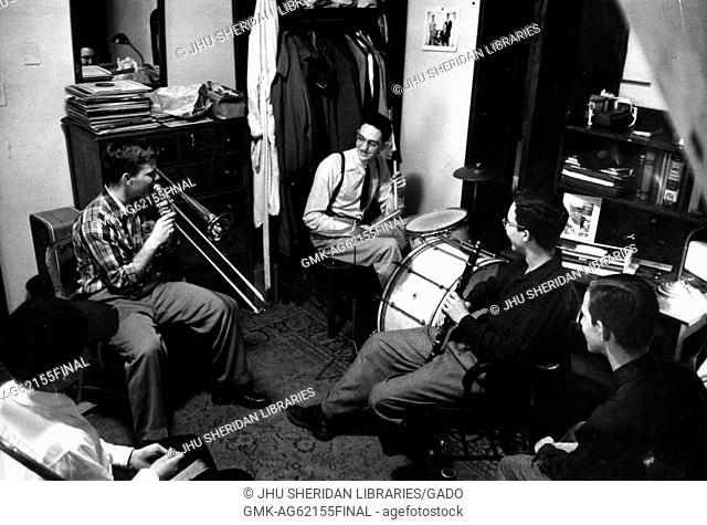 Student Life, Alumni Memorial Residences I, Donald Kniffen, John S Gallagher, [Robert Joseph?] Kaplan, Jam session in dorm room with Kniffen