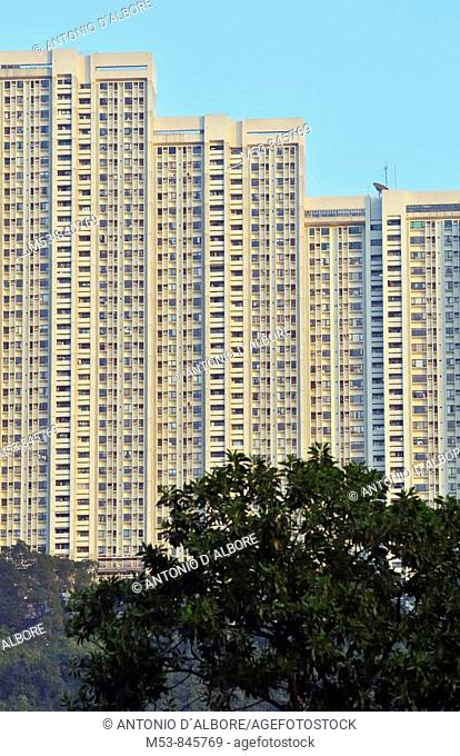 high rise residential buildings in kwai tsing distric at sunset hong kong china asia