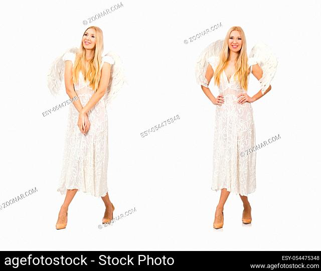 The woman with angel wings isolated on white