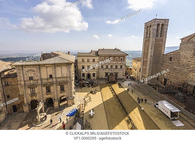 Montepulciano, Tuscany, Italy, Europe. The Piazza Grande view from the pubblic tower