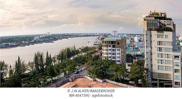 Cityscape, behind the Mekong, Mekong Delta, Can Tho, South Vietnam, Vietnam