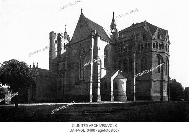 Die gotische Stiftskirche St. Martin und St. Severus in Münstermaifeld, Deutschland 1930er Jahre. St. Martin's and St. Severus' church at Muenstermaifeld