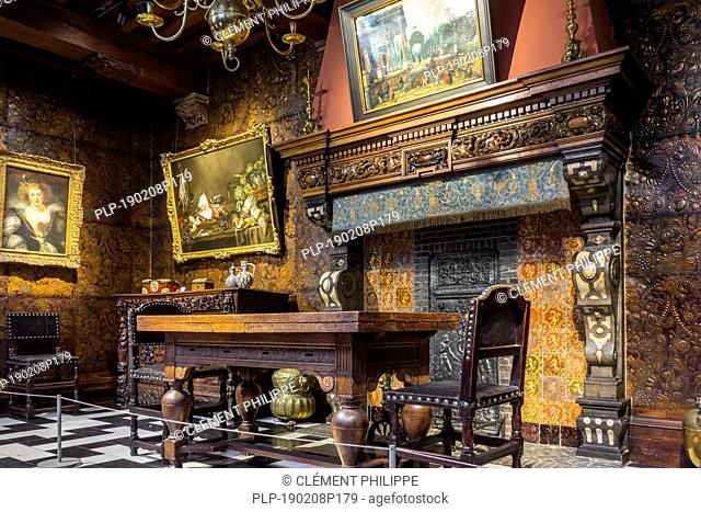 Dining room in the Rubenshuis / Rubens' House museum, former home and studio of Peter Paul Rubens (1577–1640) in Antwerp, Flanders, Belgium