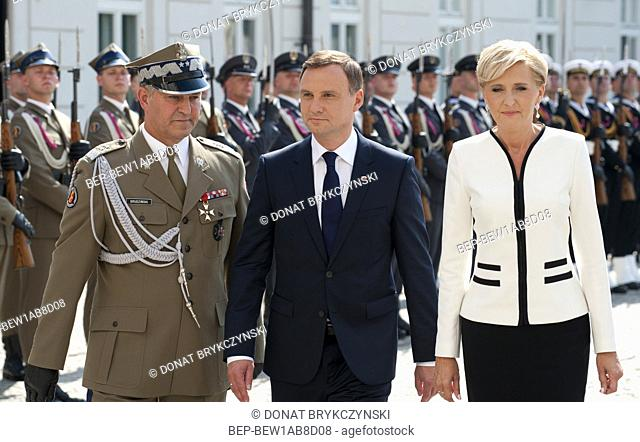 Aug. 6, 2015 Warsaw, presidential inauguration in Poland: Andrzej Duda sworn in as new Polish president. Official welcoming ceremony in the Courtyard of the...