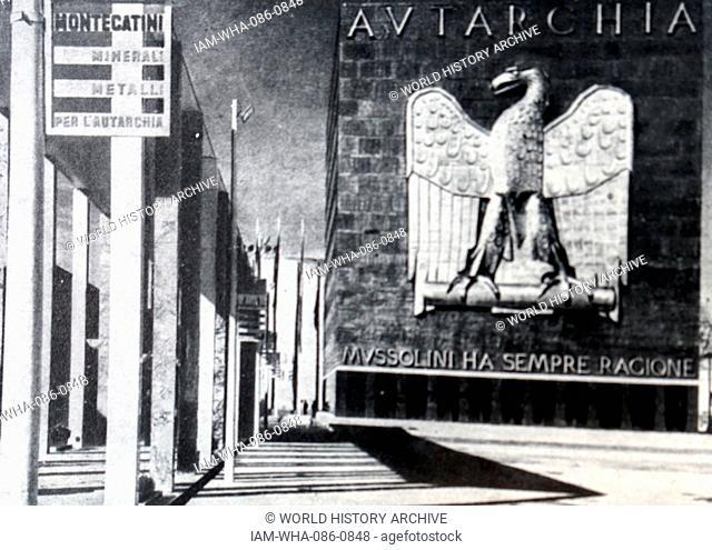 Photograph of the exterior of the Palazzo delle Esposizioni during the Exhibition of the Fascist Revolution (Mostra della Rivoluzione Fascista) in Rome