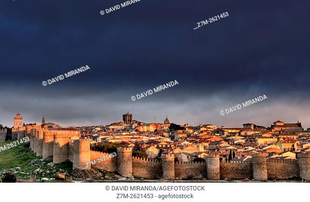 City Walls and Medieval Cathedral viewed from Los Cuatro Postes, Avila, Castile and Leon, Spain. UNESCO World Heritage Site