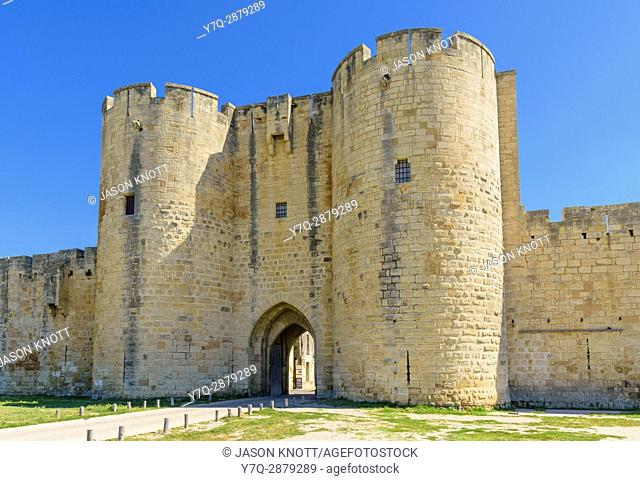 Porte des Moulins, one of the old medieval town gateways of Aigues Mortes, Nimes, Gard, Occitanie, France
