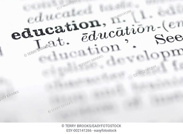 Shallow dof focus on education in English dictionary