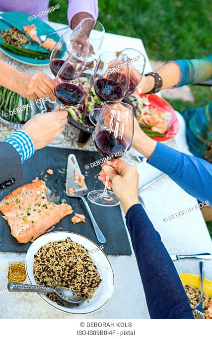 Hands of mature friends making a red wine toast at garden party table