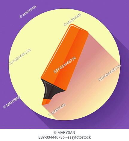 The Marker icon and Highlighter symbol. Flat Vector illustration