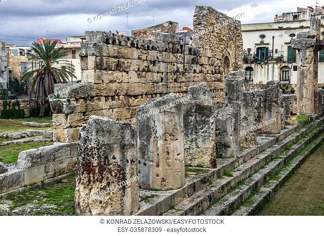 6th century BC ruins of ancient Greek Temple of Apollo on the Ortygia island, historical part of Syracuse city, southeast of Sicily Island, Italy