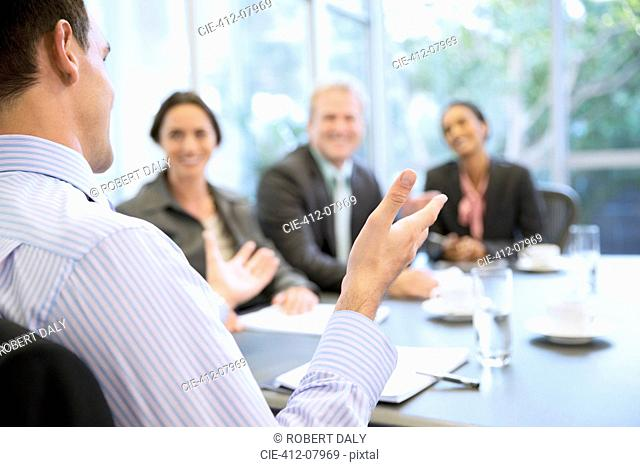 Businessman gesturing in meeting