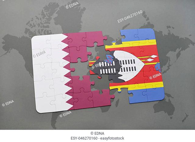 puzzle with the national flag of qatar and swaziland on a world map background. 3D illustration