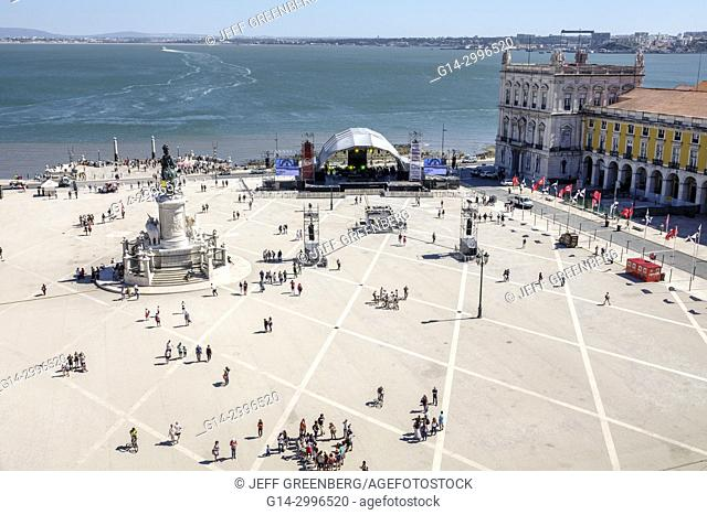 Portugal, Lisbon, Tagus River, Baixa, Chiado, historic center, Terreiro do Paco, Praca do Comercio, Commerce Square, public plaza, waterfront, overhead view
