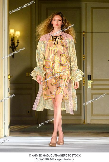PARIS, FRANCE - SEPTEMBER 28: A model walks the runway during the Alianna Liu Womenswear Spring/Summer 2020 show as part of Paris Fashion Week on September 28