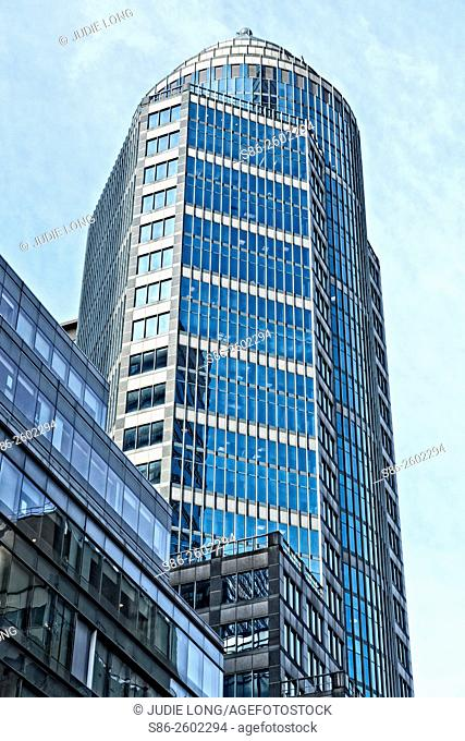 Looking up at Architecturally Interesting Office Buildings on Lexington Avenue in Manhattan, New York City