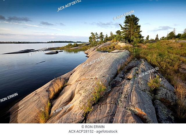 Sabine Island at the mouth of the French River on the east side of Georgian Bay on Lake Huron - a rugged granite rocky coast, French River Provincial Park