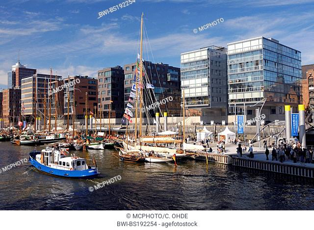 traditional ship harbour at Sandtorhafen, Hafencity, Germany, Hamburg