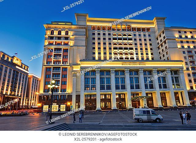 Four Seasons hotel on Manezhnaya Square. Moscow, Russia