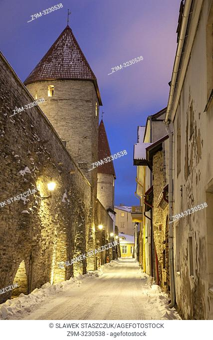 Winter evening at the city walls in Tallinn old town, Estonia