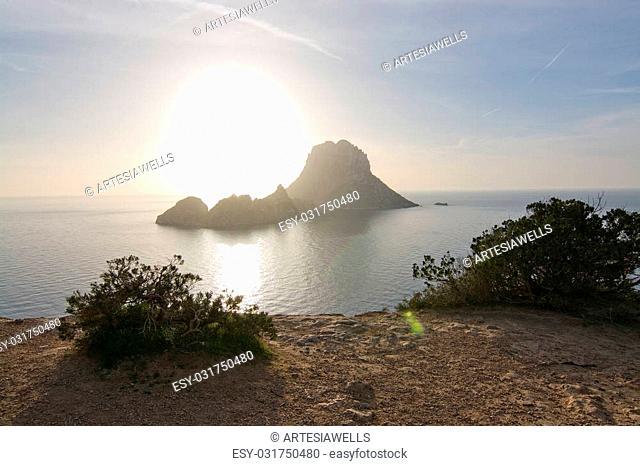 Magical, mystical Es Vedrá island around winter solstice sunset, Ibiza, Balearic islands, Spain