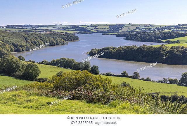 Bends in the 72 kilometer long River Bandon as it nears Kinsale, County Cork, Republic of Ireland