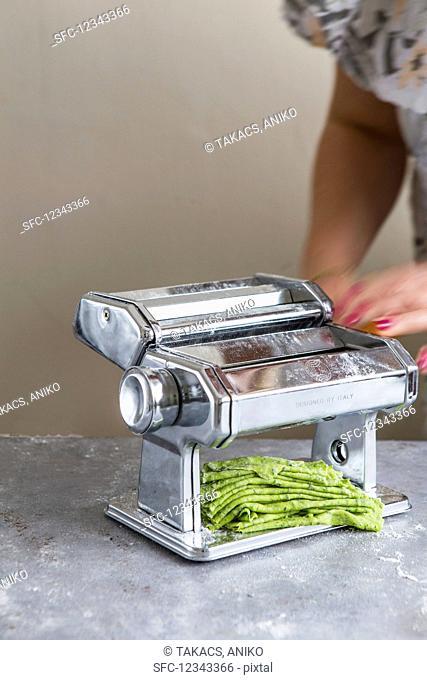 Wild garlic tagliatelle, homemade using a pasta machine