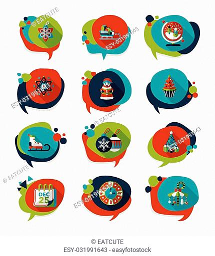 Christmas bubble speech banner design flat background set, eps10