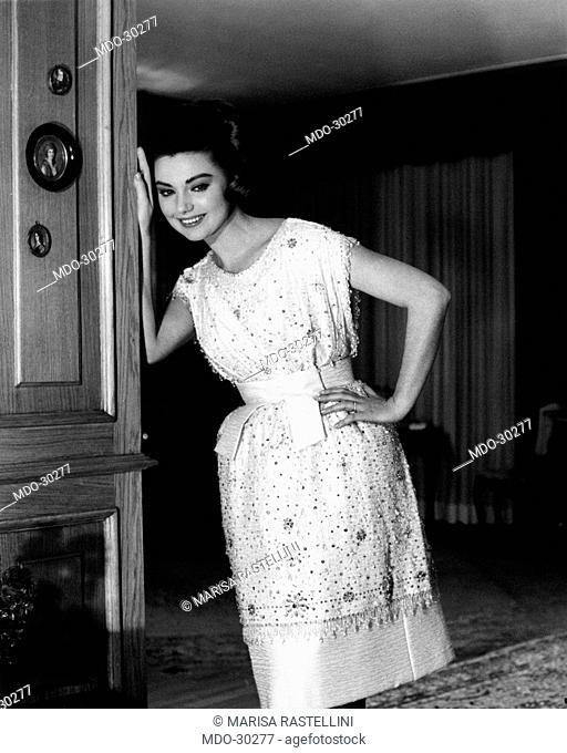 Sylva Koscina wearing a dress by Capucci. Yugoslavian-born Italian actress Sylva Koscina wearing a dress by Capucci. 1963