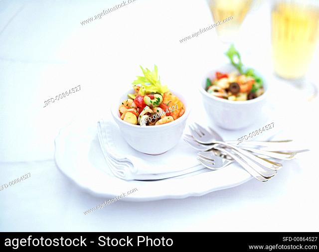 Seafood salad with celery and olives