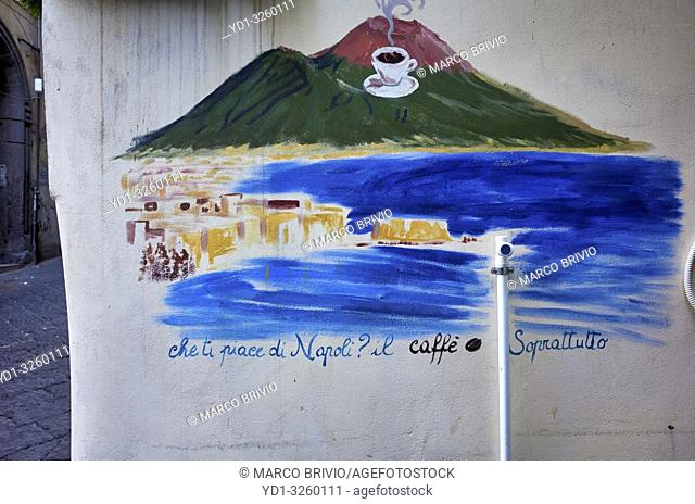 Naples Campania Italy. Street graffiti at Quartieri Spagnoli (Spanish Quarters), a part of the city of Naples in Italy