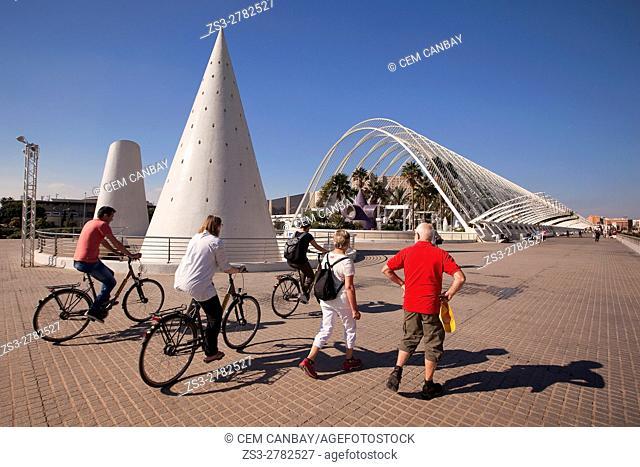 Tourists in front of the modern greenhouse Umbracle in La Ciudad de las Artes y las Ciencias-City of Arts and Sciences, Valencia, Spain, Europe