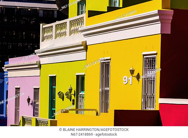 Brightly colored houses in the Bo-Kaap quarter of Cape Town, South Africa. It was formerly known as the Malay Quarter