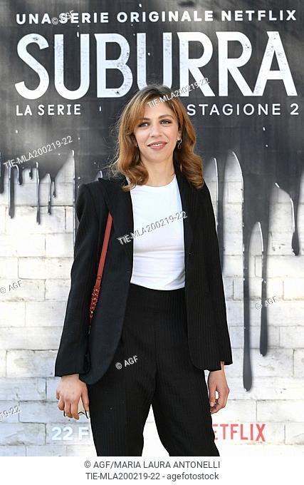 Barbara Chichiarelli during photocall of the second season of Italian fiction 'Suburra', Rome 20-02-2019