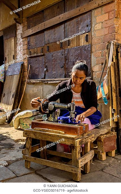 Seamstress in the streets , Antsirabe,Madagascar