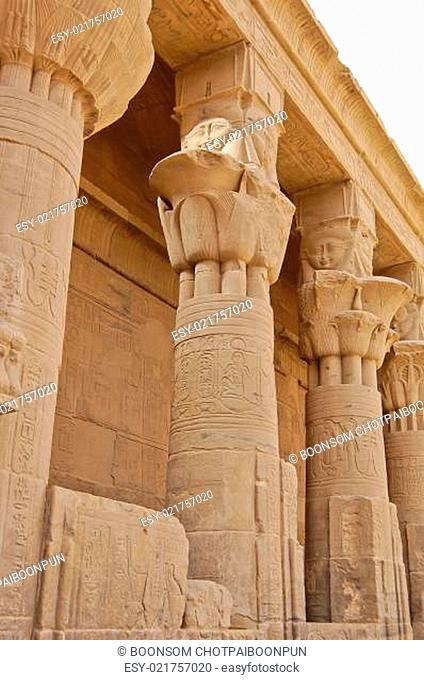 Columns of Hathor head goddess in Philae temple, Egypt