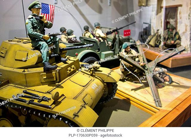 Scale model WW2 battle scenes at the Memorial World War II Museum at Quinéville, Manche, Normandy, France