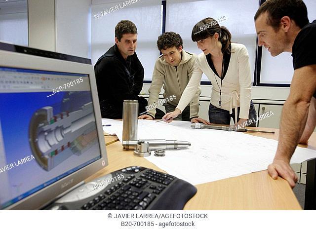 Technical office, spindle manufacturing. Mendaro, Gipuzkoa, Euskadi, Spain