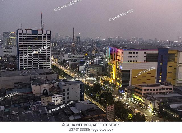 View of Jakarta city at dusk, Indonesia
