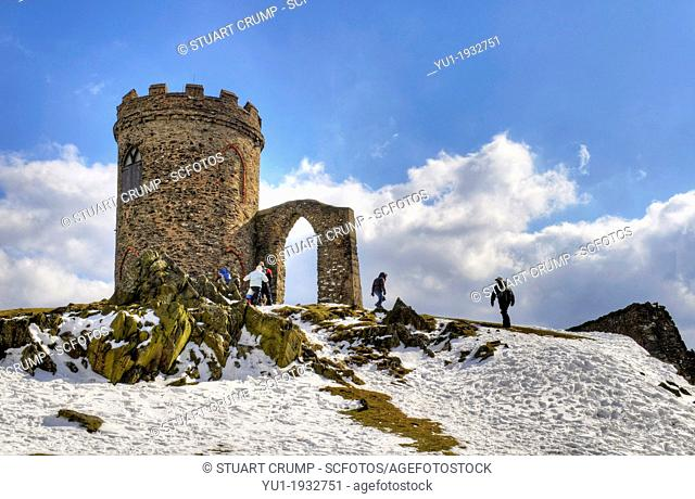 HDR image of Old John Tower in the snow at Bradgate Country Park, Leicestershire