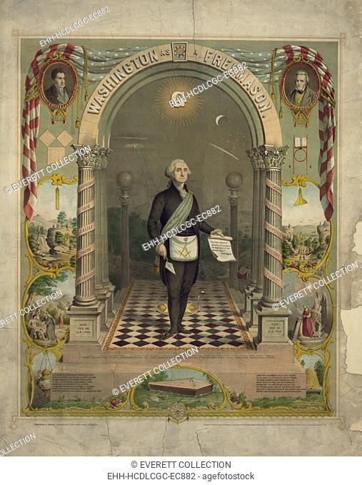 George Washington in Masonic attire, holding scroll and trowel, c. 1866