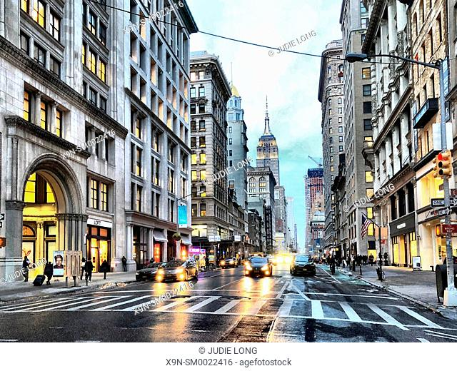 New York City, Manhattan. Looking North on Fifth Avenue from the Flatiron District. Empire State Building in the Background